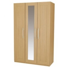 Visualise Shaker Veradi Oak 3 Door Bedroom Mirrored Wardrobe
